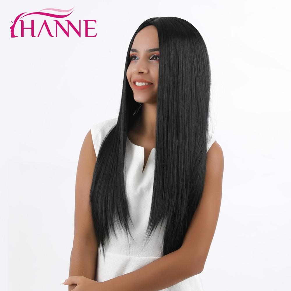 HANNE Long Straight Synthetic Wigs 20 Inches Black Wig Heat Resistant Cosplay Or Party Wigs For Black Or White Women