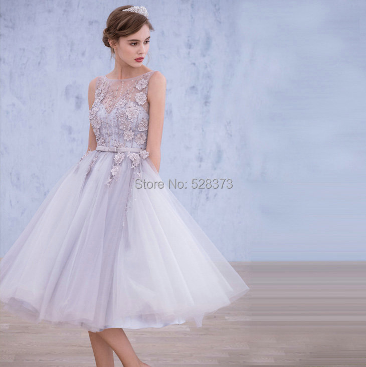 YNQNFS YEC6 A-line Heavy Beaded Tutu Backless Silver/Blue Prom Party   Bridesmaid     Dress   Gowns Real Photos
