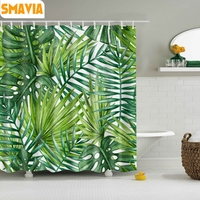 SMAVIA Green Leaf Shower Curtains Easy Install Polyester Bath Curtain include 12 White C-type Hook 180x180cm/150x180cm/180x200cm