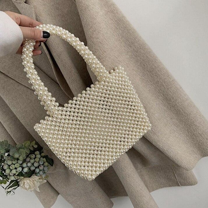 Nouveau-femmes Vintage Imitation perles sac à main printemps à la mode rétro Chic Top poignée sac femme petite taille perles classique élégant - 4