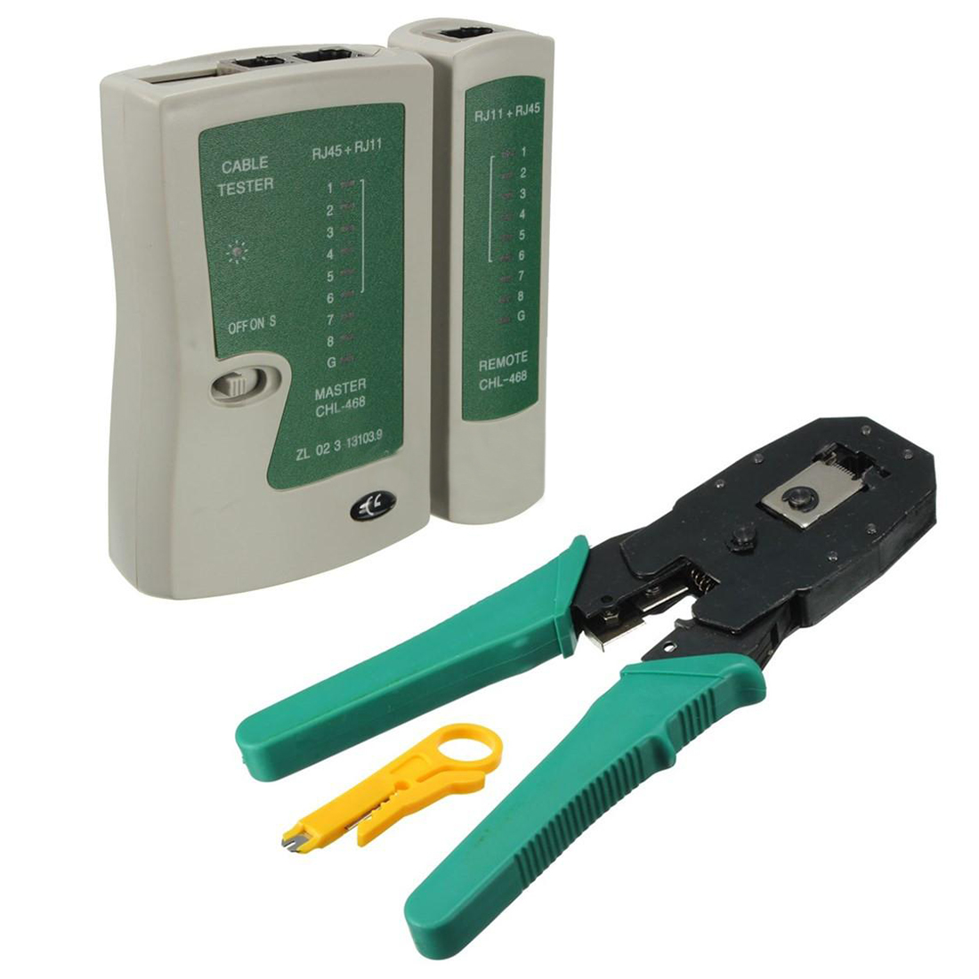 Network-Cable-Tester Crimper Rj11 Professional Lan Rj45 with PC Herramientas title=