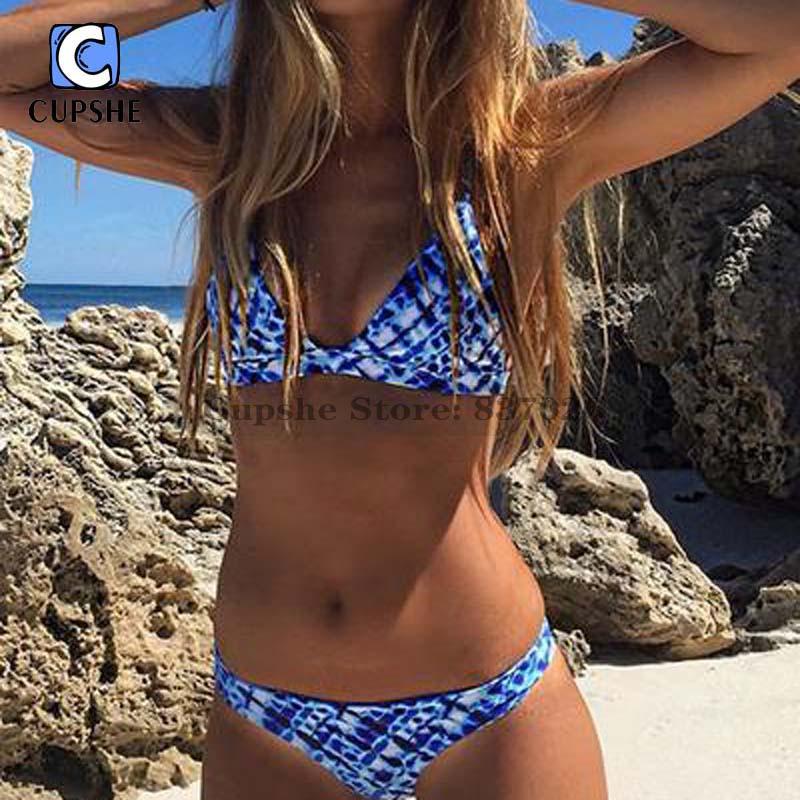Cupshe Women Blue Ocean Bikini Set Women Summer Sexy Swimsuit Ladies Beach Bathing Suit swimwear vertvie women sexy high collar bikini set cyan blue leaf pattern cross strap braided rope cheongsam swimsuit summer beach