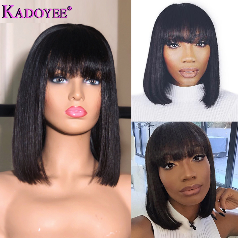 Short Lace Front Human Hair Wig Brazilian Remy Hair Bob Wig with Bangs 10 Pre Plucked