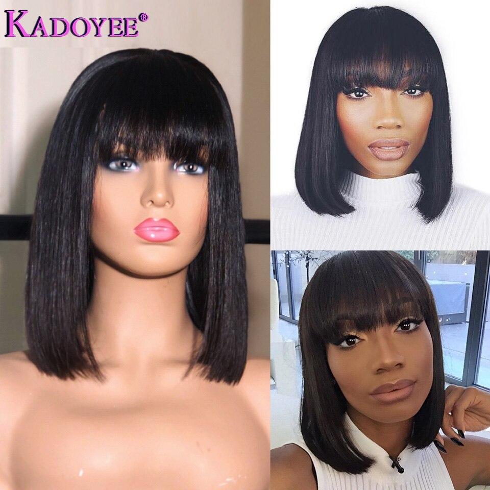 Perruque de cheveux humains avant en dentelle courte brésilienne Remy cheveux Bob perruque avec frange 10 perruque de dentelle pré-plumée ligne de cheveux naturelle pour les femmes noires