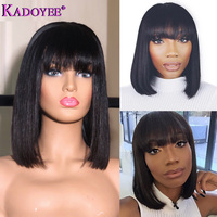 Short Lace Front Human Hair Wig Brazilian Remy Hair Bob Wig with Bangs 10 Pre Plucked Lace Wig Natural Hairline For Black Women