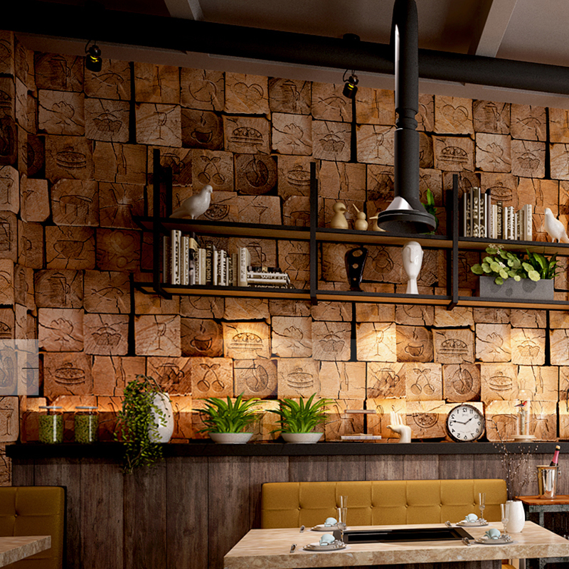 Vintage 3d Wood Wallpaper Living Room Restaurant Wooden Pattern