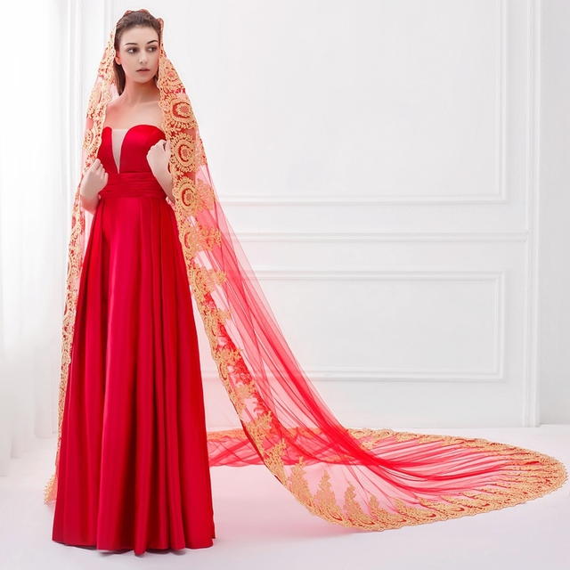 Romantic Lace Edge Bridal Veil  White Ivory Red   Meter Wedding Veil Sexy Veu De