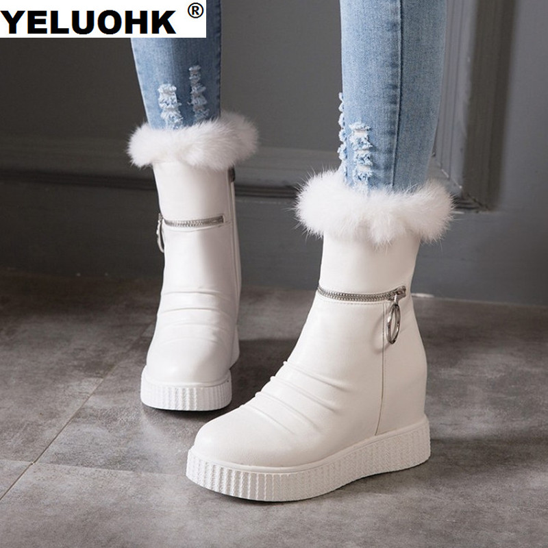 Large Size White Boots Winter Shoes Women Platform Snow Boots Low Heel Women Shoes Warm Fur Ankle Boots For Women Ladies Shoes
