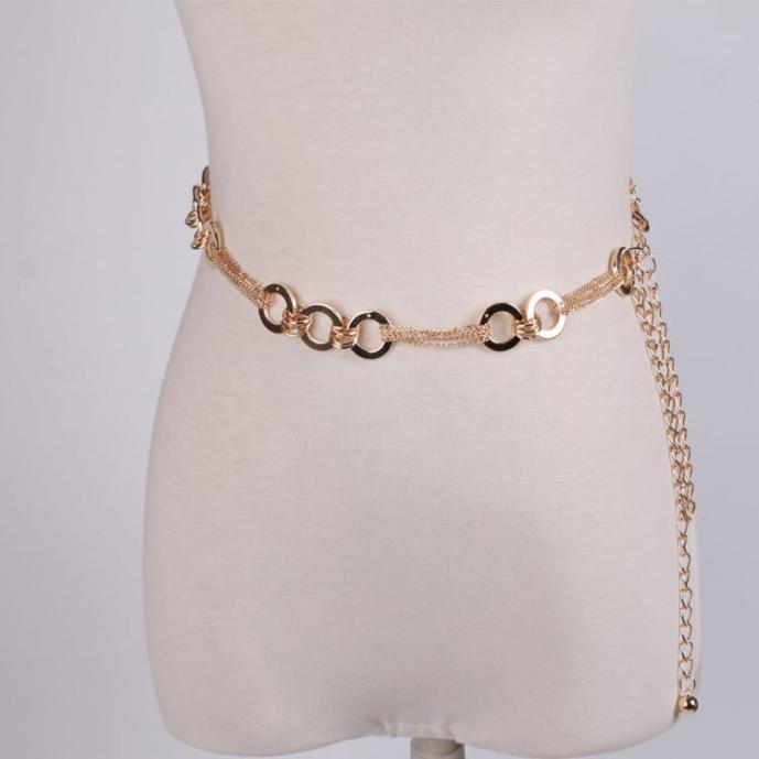 Chain   Belt   For Women Lady Fashion Metal Style   Belt   Waist   Belt   Female Dress Waistband Necklace Ring cinturon mujer pasek damskiA9