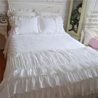 Beautiful wedding cake layers bedding set twin full queen king size Korean white ruffle falbala lace bow bed skirt free shipping
