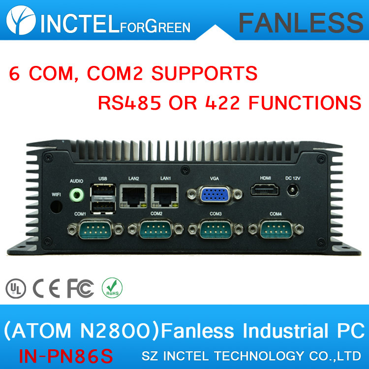 3.5 inch embedded industrial low power fanless widen industrial computer with Atom N2800 6 RS232 2 RTL8111E Gigabit LAN DC12V