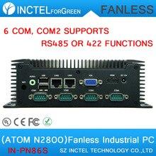 3.5 дюймов встроенный промышленный низкое энергопотребление расширить безвентиляторный промышленный компьютер с Atom N2800 6 RS232 2 RTL8111E Gigabit LAN DC12V
