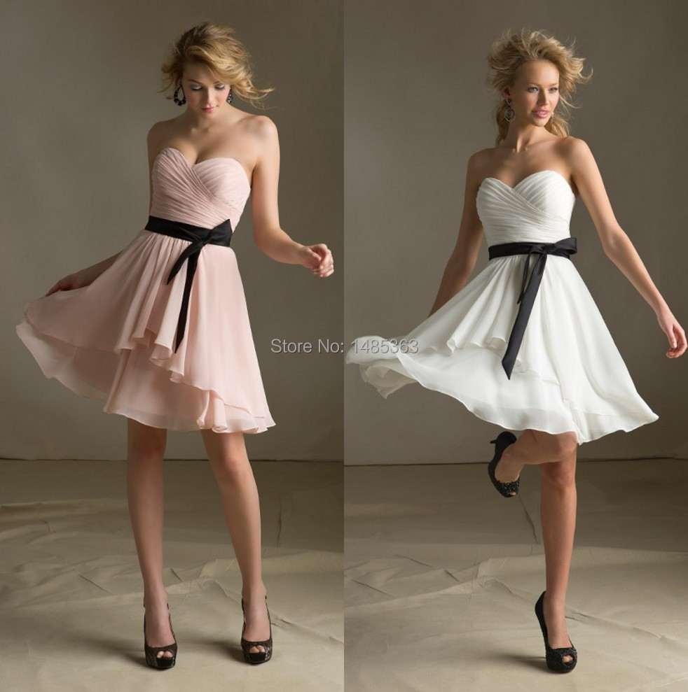 Popular Black Bridesmaid Dresses with Pink Sash-Buy Cheap Black ...