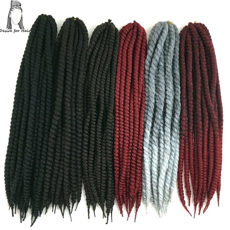 Önskning för hår 8packs 24inch 120g 2X mambo twist hår syntetisk haklapp flätande hårförlängningar i ombre färg och solid färg