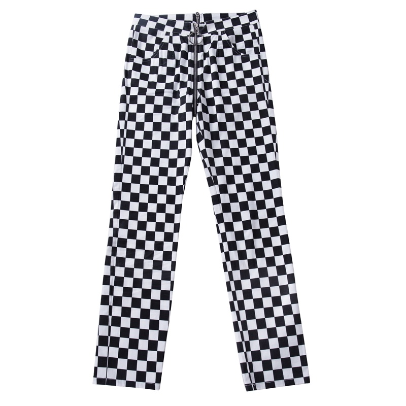InstaHot Plaid Zipper Checkered Straight Pants Women Fashion Casual Slim Pockets Long Pants Black White Pencil Pantalon Femme 19