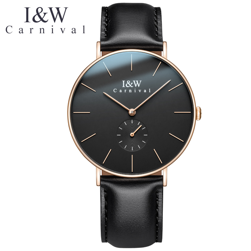 Fashion Ultrathin Watch men CARNIVAL Quartz watch Import Swiss quartz movement,Small second dial,leather band Relogio masculinoFashion Ultrathin Watch men CARNIVAL Quartz watch Import Swiss quartz movement,Small second dial,leather band Relogio masculino