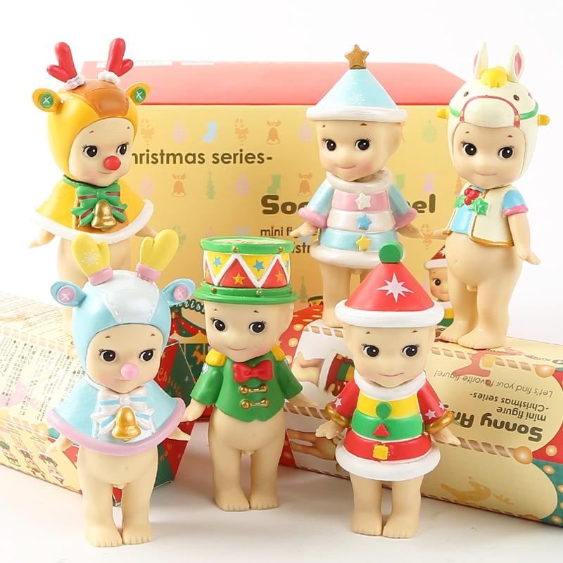 6pcs/set Sonny Angel Mini 2018 Version Christmas Series Sonny Angel PVC Action Figures Toys Doll Gift for Kids sonny angel summer series caribbean sea version mini pvc action figures collectible model toys 6pcs set 8cm