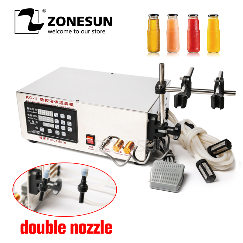 ZONESUN Double Head Liquid Filling Machine Microcomputer Automatic Alcohol Liquid High Filling Precision Filling Machine 5-3.5L