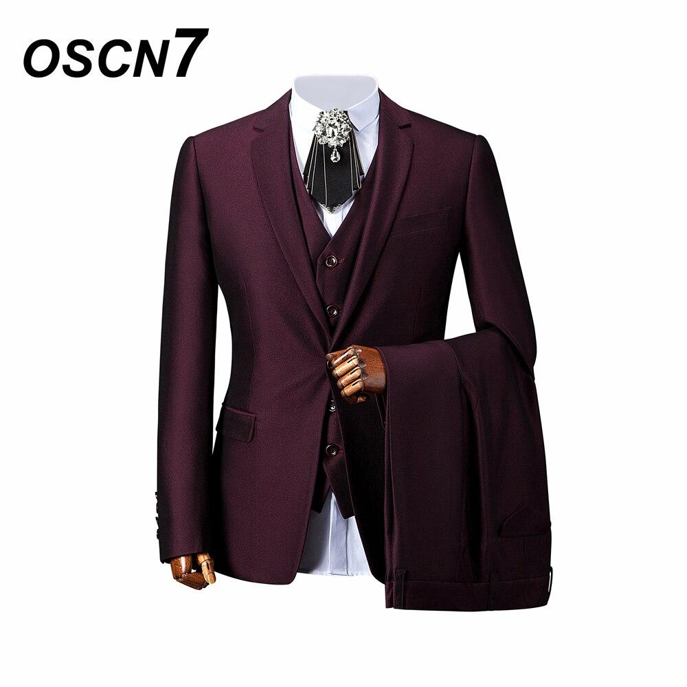 OSCN7 violet tailleur costumes hommes 3 pièce mariage Gentleman sur mesure costume hommes personnalisation avancée costume hommes