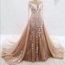 GEYATING Long Sleeves Mermaid Wedding Dress