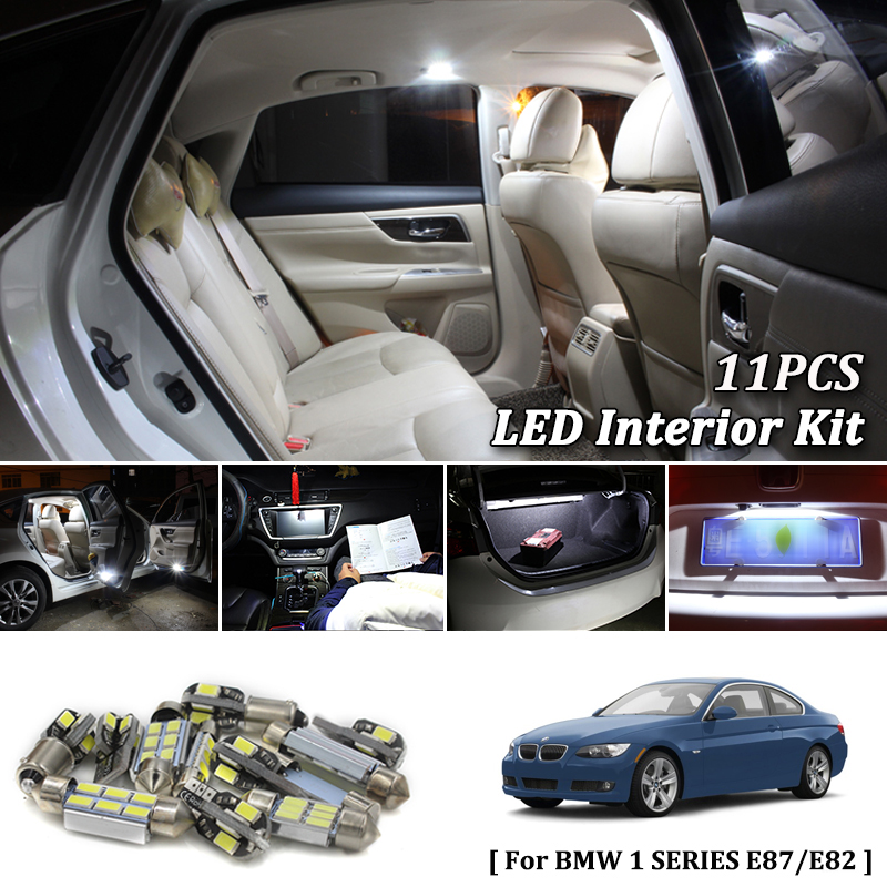 Interior Car Detailing Package: 11X White Canbus Led Car Interior Lights Package Kit For