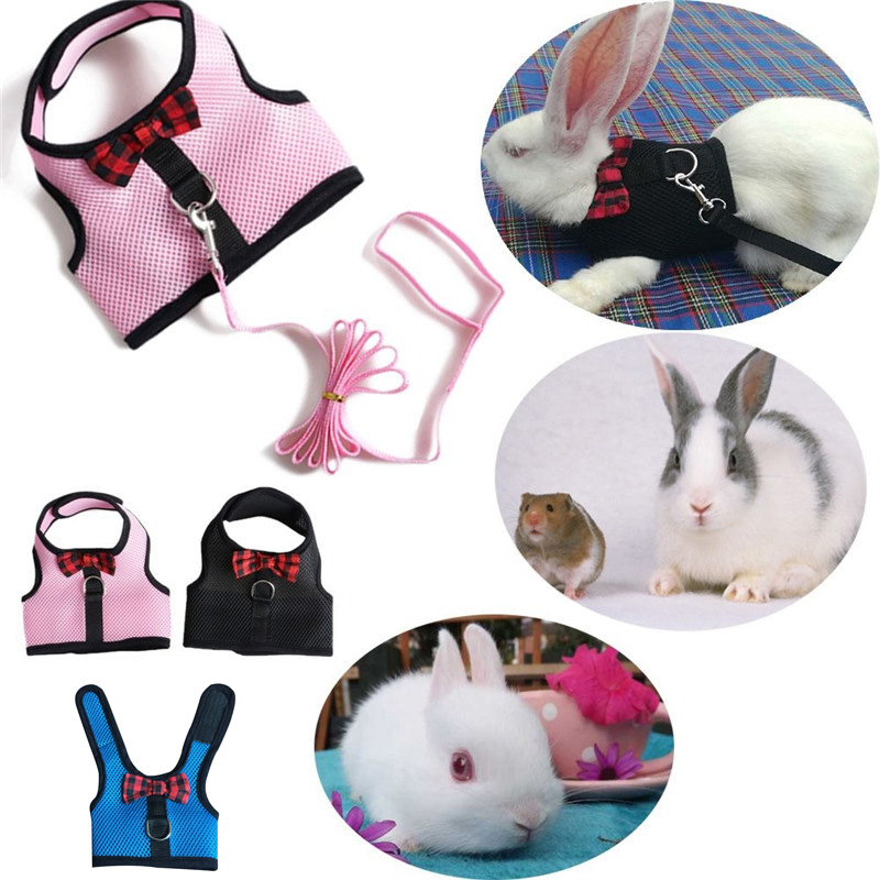 Rabbits Hamster Vest Harness With Leash,bunny  Mesh Chest Strap Harnesses Ferret Guinea Pig Small Animals Pet Accessories S/m/l