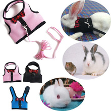 Rabbits Hamster Vest Harness With Leash,Bunny  Mesh Chest Strap Harnesses Ferret Guinea Pig Small Animals Pet Accessories S/M/L small bunny s blue blanket new ed