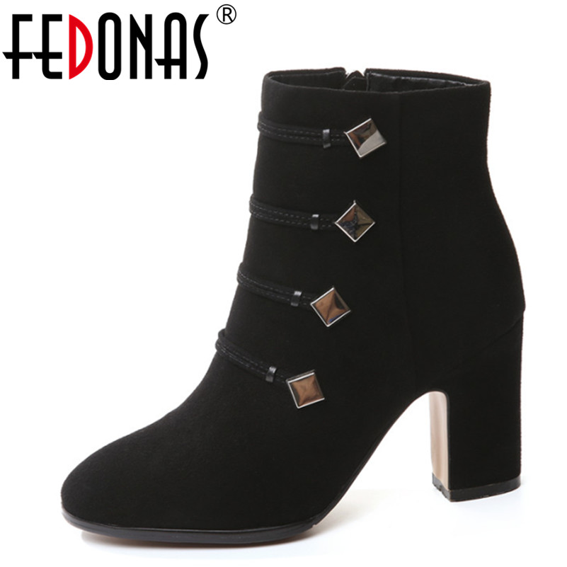 FEDONAS Top Quality Brand Ankle Boots Super High Heels Buckles Shoes Woman Winter Warm Genuine Leather Boots Women Martin Boots