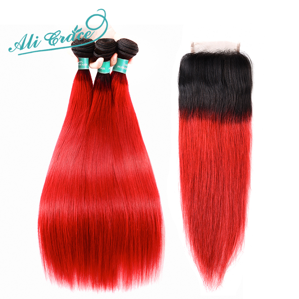 Ali Grace Hair Brazilian Straight 3 Bundles With Closure Pre Colored 1B Red Ombre Human Remy
