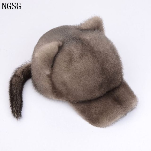 NGSG Sexy Fur Little Tiger Hat With Tail Women Fur Visors White Hats Winter  Genuine Mink Fur Material For Female Friend H002 bf0e626d56