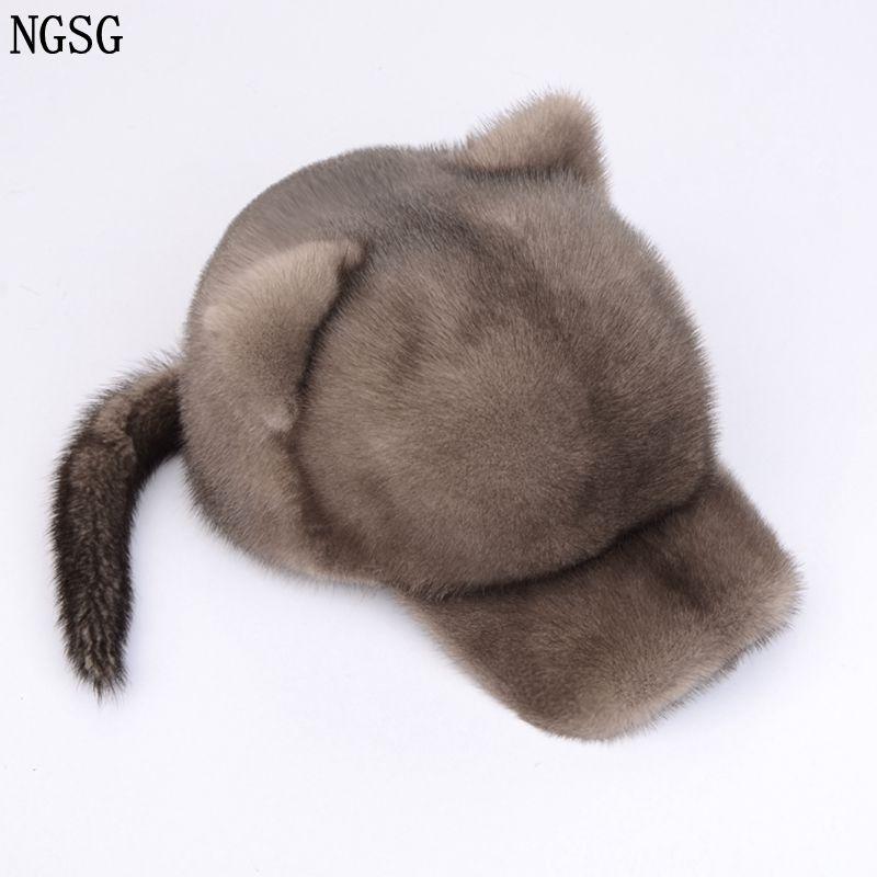 NGSG Sexy fourrure petit chapeau de tigre avec queue femmes visières de fourrure chapeaux blancs hiver véritable matériel de fourrure de vison pour femme amie H002