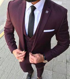 2017 Latest Coat Pant Designs Burgundy Men Suit Slim Fit Groom Tuxedo 3 Piece Custom Wedding Suits Prom Blazer Terno Masculino