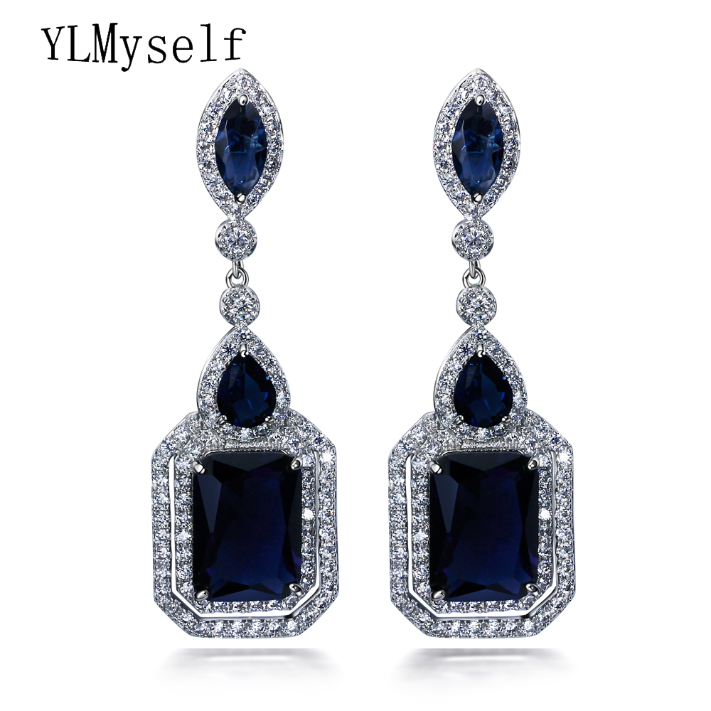 Fashion Long square earring for wedding party Red and montana crystal cz oorbellen brincos jewelry big earrings for women baguetee cz red passion hoop earrings for women multi color stone earring fit wedding fashion rainbow big earing jewelry 2018