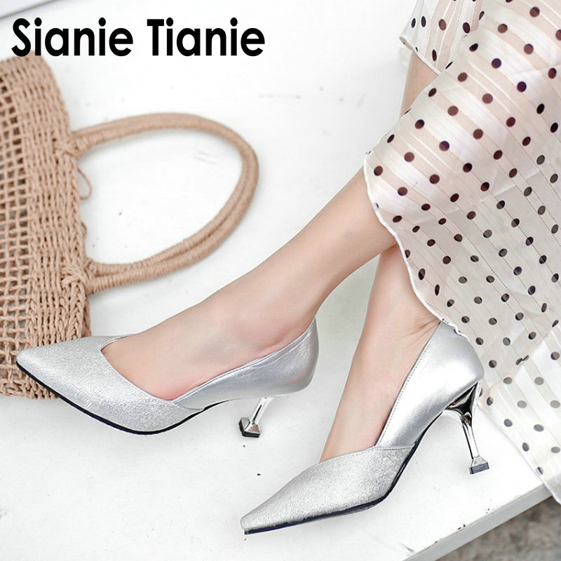 Sianie Tianie 2019 Sliver Glitter Bling Wedding Party Bride Shoes Shallow Single Woman Shoes Women High Heels Big Size 44 45 46