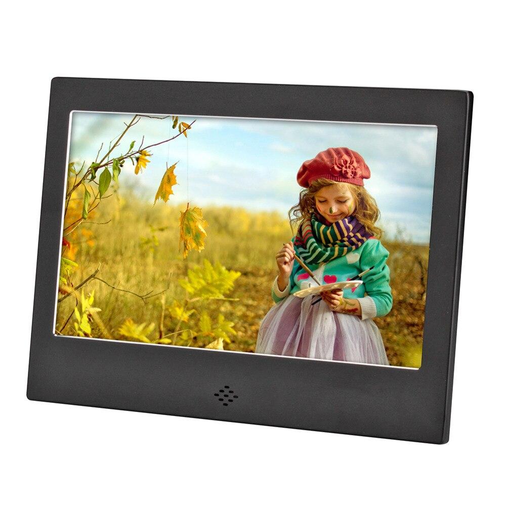 цена на 7 Inch Digital Photo Frame 720P Video Music Calendar Clock Player 1024x600 Resolution Metal Frame w/Remote Control