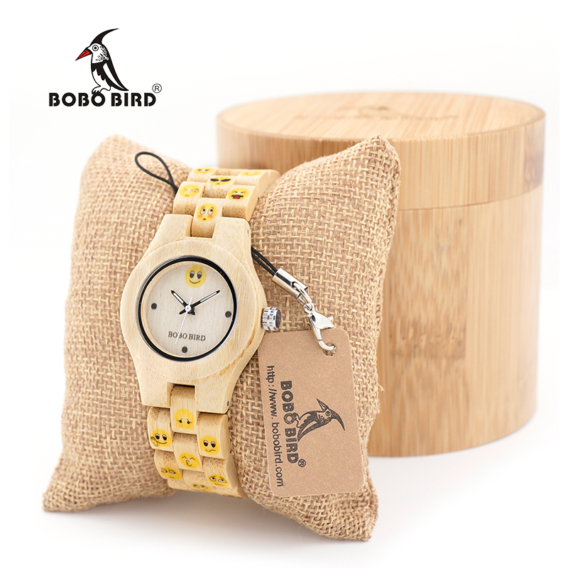 BOBO BIRD Maple Women watches Luxury Top Brand Wristwatch With Emoticon Display laies Quartz Movement clock in Bamboo Box bobo bird v o29 top brand luxury women unique watch bamboo wooden fashion quartz watches