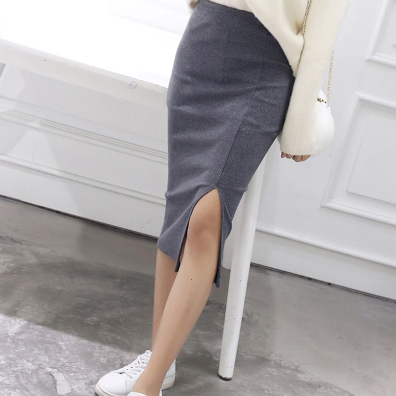 Women Bodycon Skirts Spring Autumn Both Sides Split Sexy Ladies Skirts Female Casual Pencil Skirts 6 Colors
