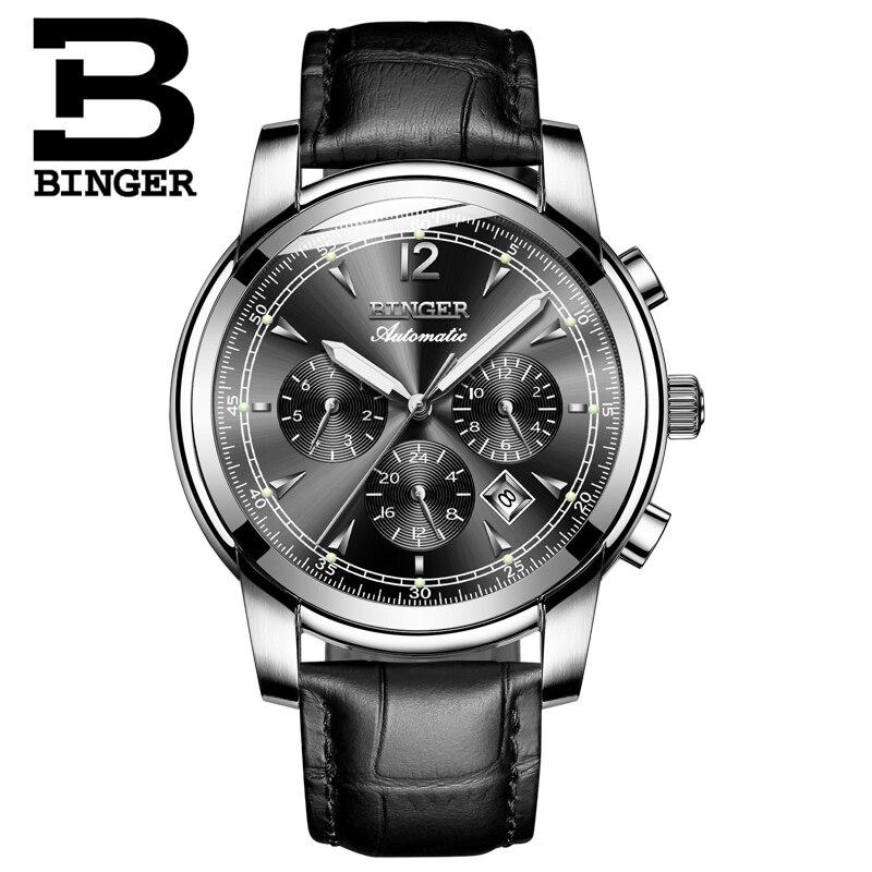 Image 2 - Switzerland Automatic Mechanical Watch Men Binger Luxury Brand  Watches Male Sapphire clock Waterproof reloj hombre B1178  20hombrehombre reloj