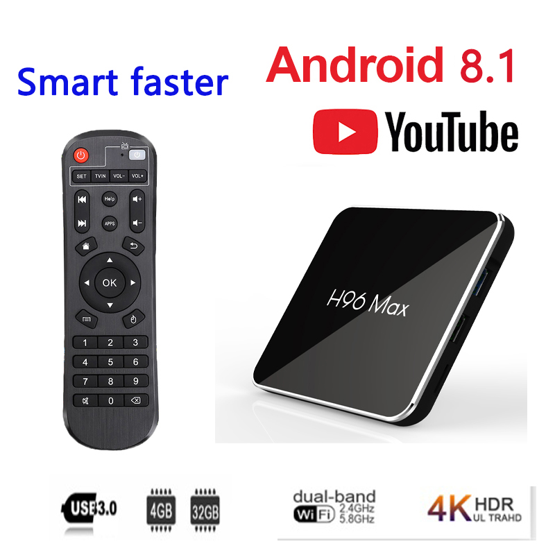 <font><b>Belgium</b></font> android tv box H96max x2 Android 8.1 Amlogic S905X2 USB 3.0 4K H.265 Bluetooth Smart tv box Media Player tv box brasil image