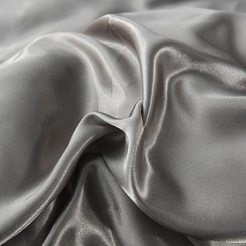 Slowdream Gray Silky Luxury Flat Sheet Home Textiles Bed Linen 100 Silk Fabric Double Queen King Size Bedding Sheet 1PCS in Sheet from Home Garden