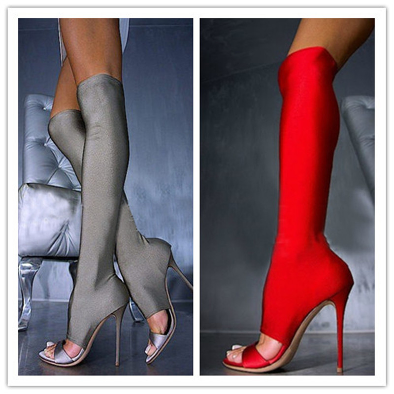 New Stretch Fabric Knee High Boots Open Toe Cut Outs Women Boots Shoes Woman High Heels Gladiator Sandals Women Boot Botas Mujer patent leather knee high fashion women boots buckle strap cool motorcycle boots thin high heels cut outs sandals boots shoes