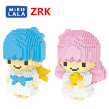 Mini cute double doll cartoon angel game gift models diamond kids block plastic building blocks boys educational toy