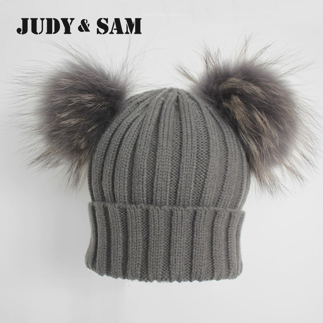 784f4ab88512a4 Winter Real Fur Ball Beanie Hat for Women Fluffy Raccoon Fur Pom Poms  Skullies Beanies