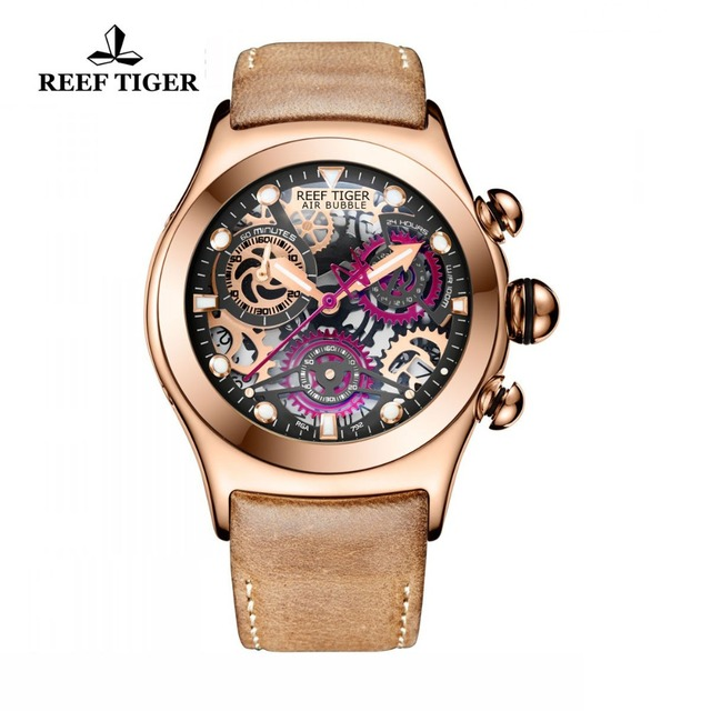 Reef Tiger/RT Mens Sport Watches Rose Gold Luminous Quartz Watches Skeleton Watches Genuine Leather Band RGA792