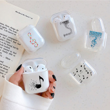 Transparent Soft Cases For Apple Airpods Wireless Bluetooth Earphone Cartoon Cute Love Music Notes C