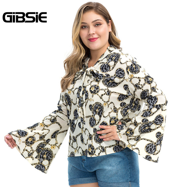 GIBSIE Plus Size Chain Print Bow Tie Neck Long Sleeve Shirt Women Tops Autumn Fashion Elegant Office Lady Workwear Women Blouses 4