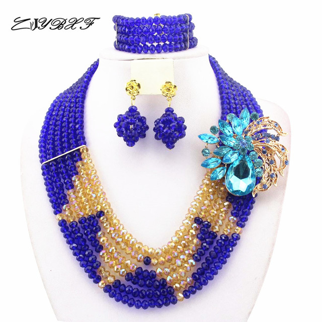 African Crystal Beads Jewelry Sets African Wedding Beads Jewelry Sets Crystal Necklace Bracelet Earrings Sets    HW01