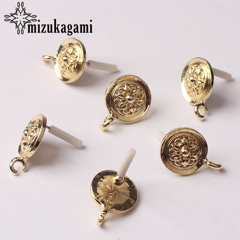 Zinc Alloy Golden Round Sun Flowers Base Earrings Connector Charms 13mm 6pcs/lot For DIY Fashion Earrings Making Accessories
