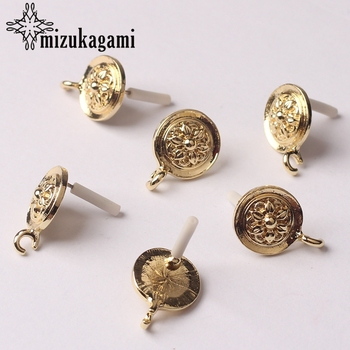 Zinc Alloy Golden Round Sun Flowers Base Earrings Connector Charms 13mm 6pcs/lot For DIY Fashion Earrings Making Accessories zinc alloy fashion golden round flowers base earrings connector charms 6pcs lot diy earrings jewelry making accessories