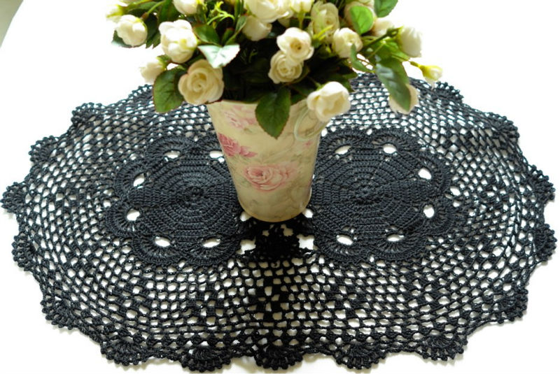 Black Crochet Lace Tablecloth Table Runner Crochet Lace Placemats
